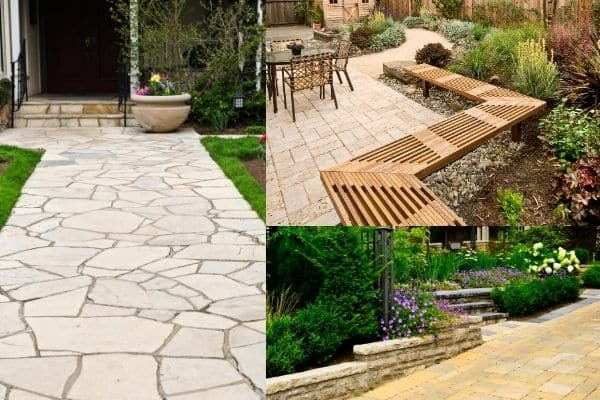 3 different photos with stone walkways and patios