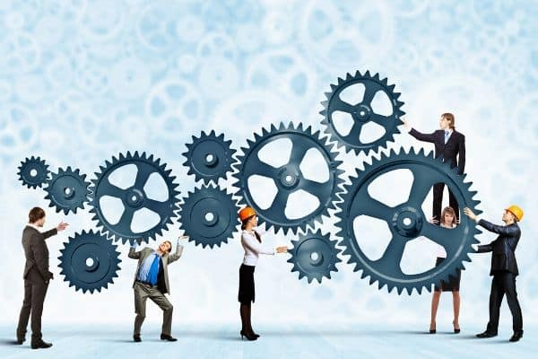 Cogs working together equals successful business