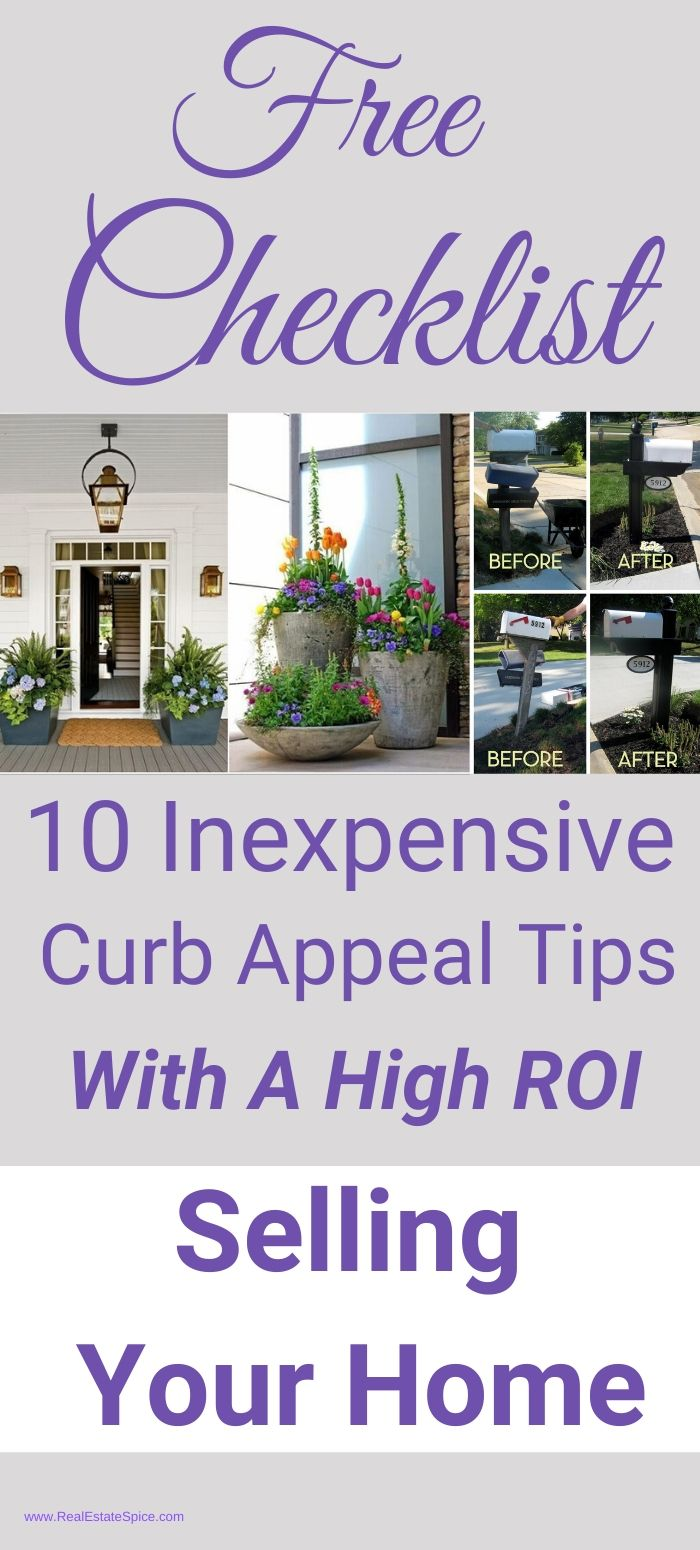 Checklist with Curb Appeal Tips To Increase ROI when selling a home