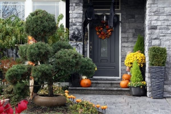 Elegant front porch and door with fall decorations