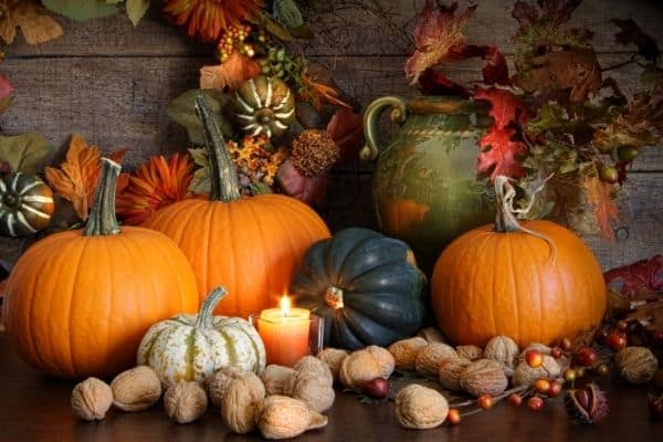 Fall Decorations pumpkins candle walnuts gourds