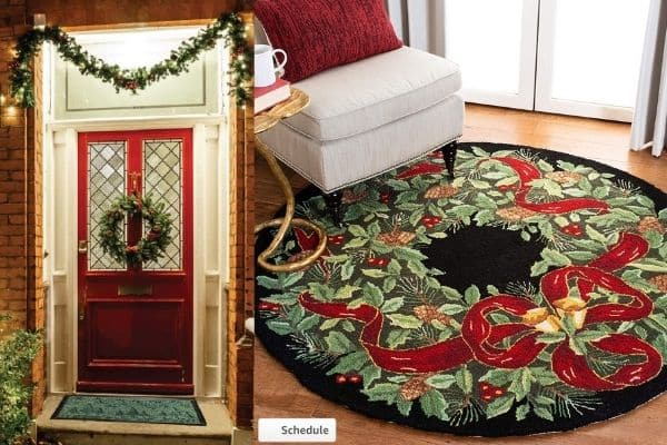 Front door christmas mat and christmas rug front of chair