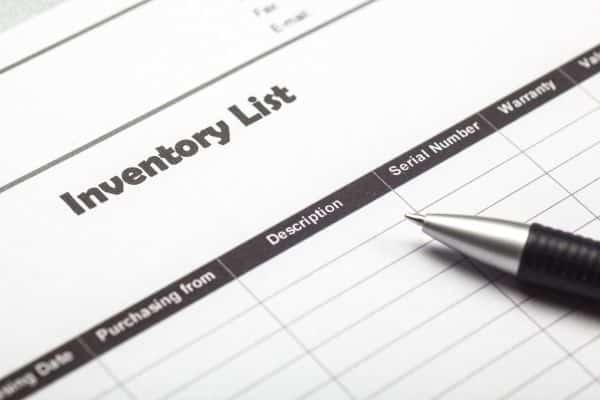 Home inventory sheet columns and pen