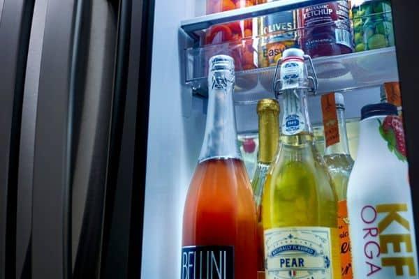 Inside of refrigerator filled with beverages
