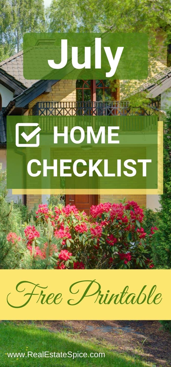 July Home Maintenance Checklist Printable
