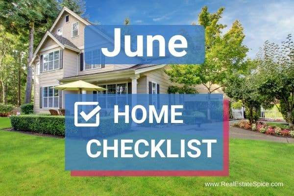 Exterior landscaped home with June Home Checklist writing