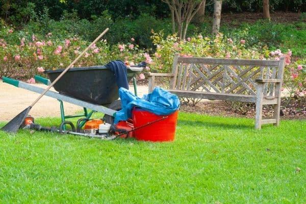 Lawn equipment on green grass