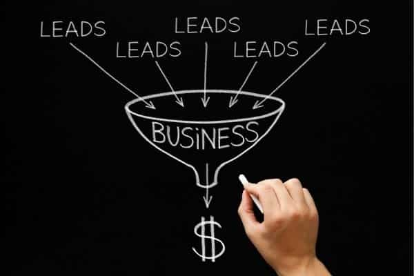 Leads into business funnel comes out dollars