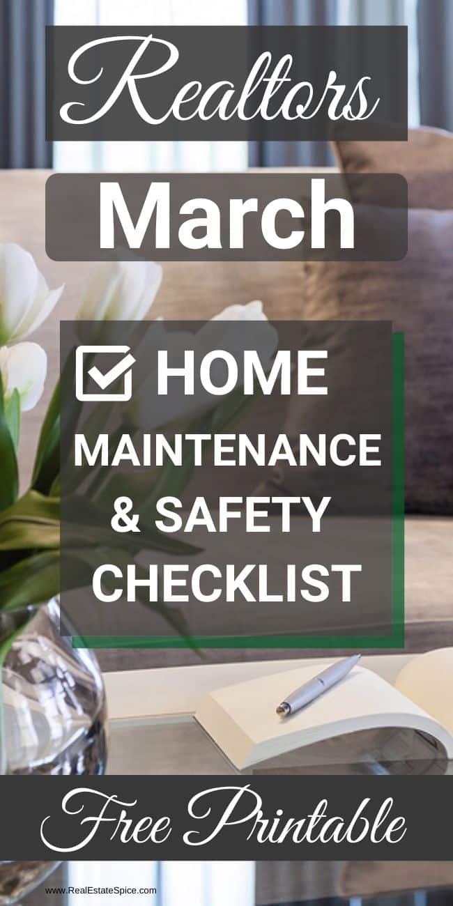 March Home Maintenance Checklist Printable.  This Free Printable Includes Home Maintenance & Safety Tasks To Protect Your Home and Your Family. Get Yours HERE  #realestatemarketing #homemaintenance #marchhomemaintenance #realestate #realtortips