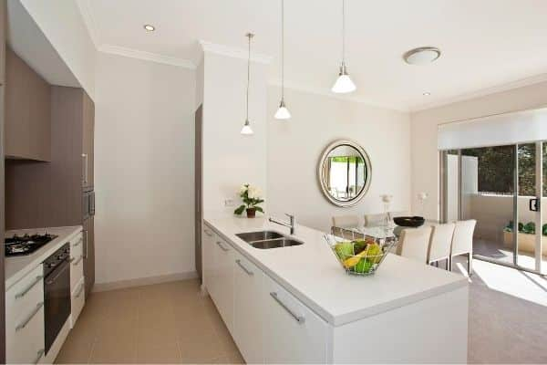 Nice Kitchen and dining area with white walls