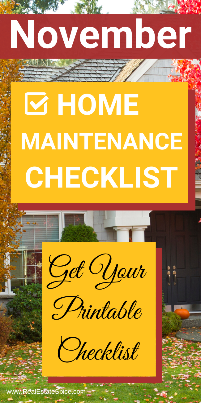 November Home Maintenance & Safety Checklist.  Printable checklist available too.  Get ready for the holidays. Protect your loved ones and home...