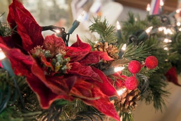 Pine Christmas garland lit with pine cones and poinsettias