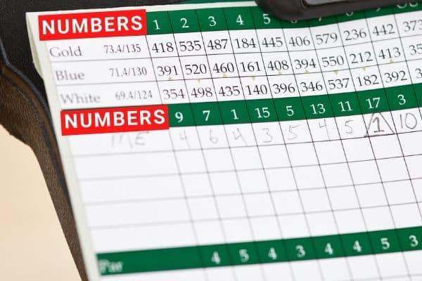 Scorecard that says NUMBERS
