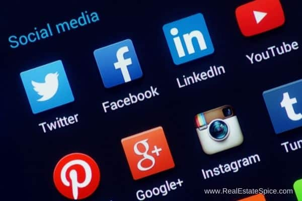 Social Media icons on a screen