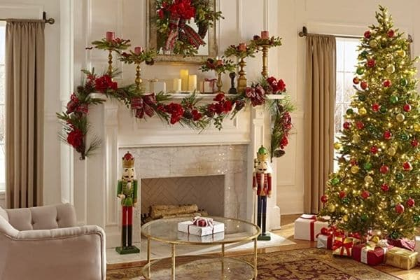 Tall nutcrackers on each side of fireplace