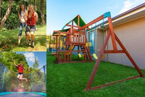 backyard playground structure and trampoline