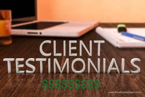 client testimonials on desk dollar signs underneath words
