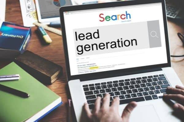 laptop that says lead generation on the screen