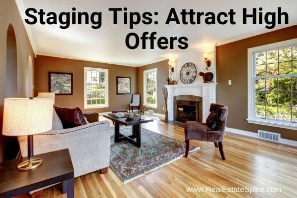 staged living room says staging tips attract high offers