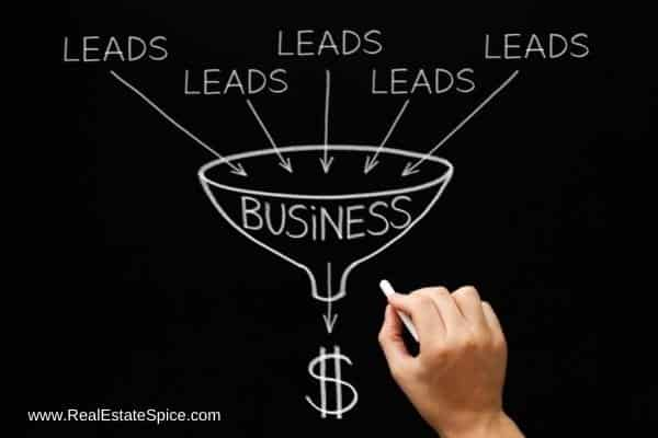 words leads pointing to business funnel with dollar sign pouring out